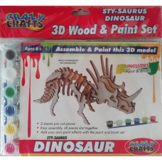 3D Wood & Paint Set T-Rex Dinosaur