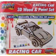 3D Wood & Paint Set Racing Car