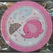 Party Plates Baby Shower Pink 9pk